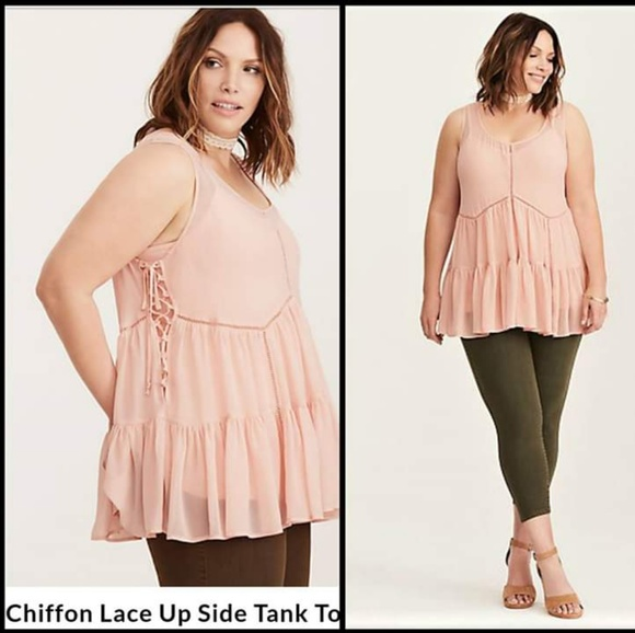 c6321de1016 TORRID Lace Up Side Tank Tunic Blush Pink Size 2. M 5bec3b6645c8b35200127a1c